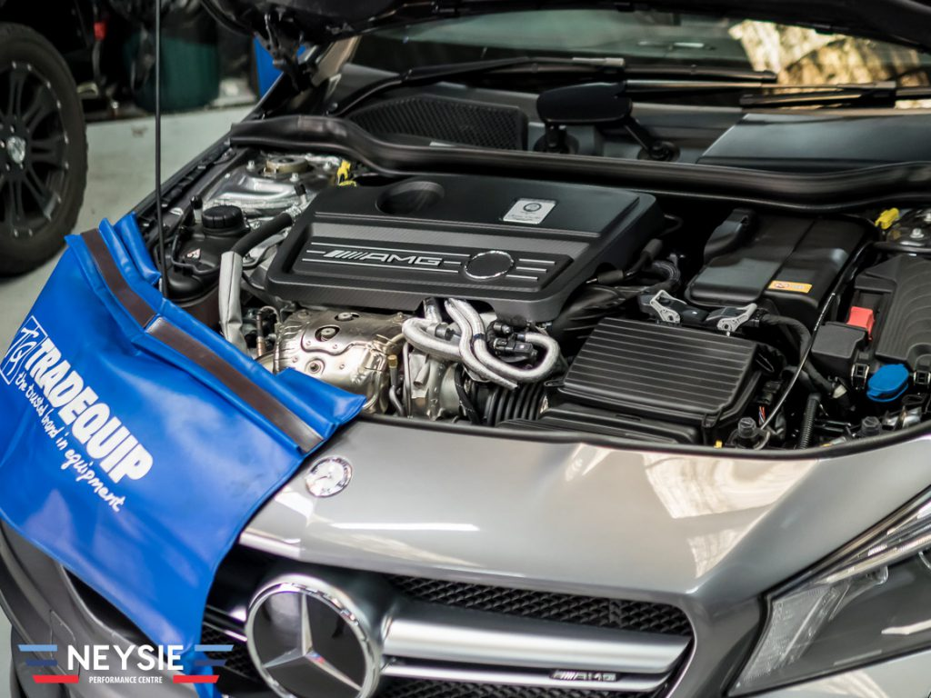 Mercedes AMG in mechanic workshop.